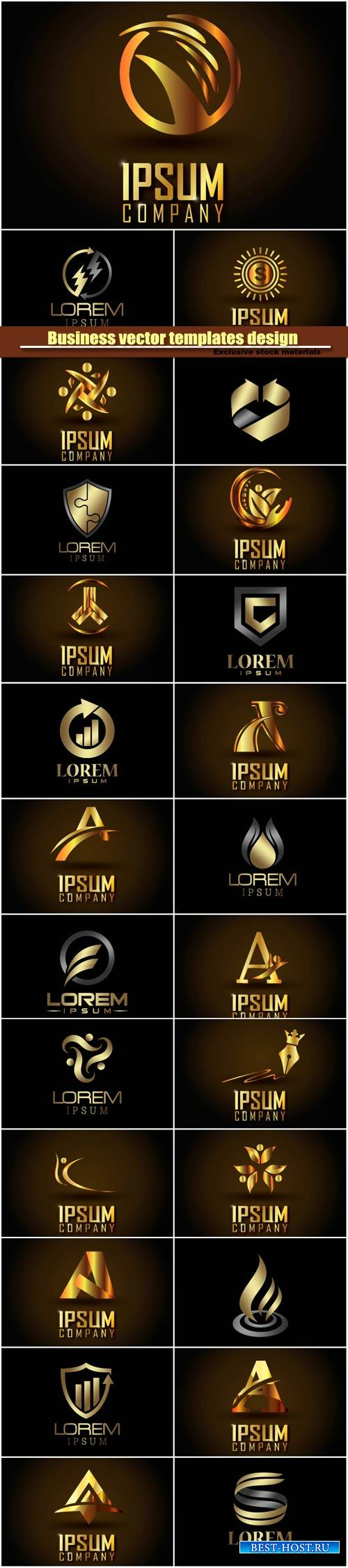 Set golden vector business logos