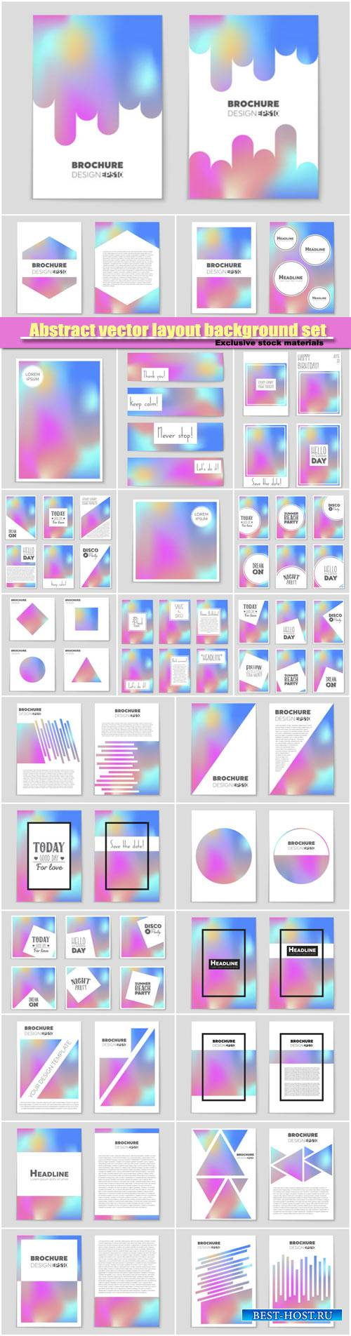 Abstract vector layout background set, template design, brochure and card s ...