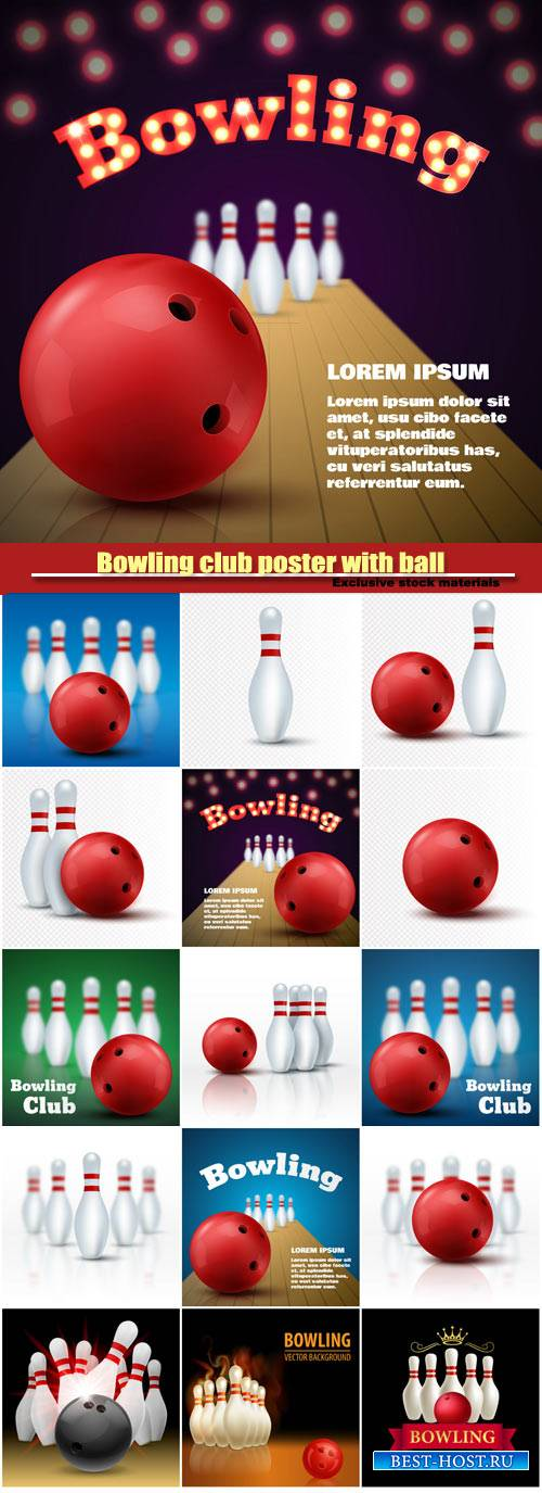 Bowling club poster with ball and skittles, vector sport background