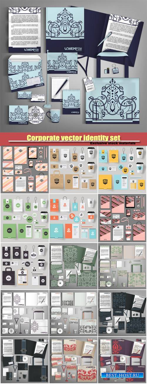 Corporate vector identity set with vintage design elements