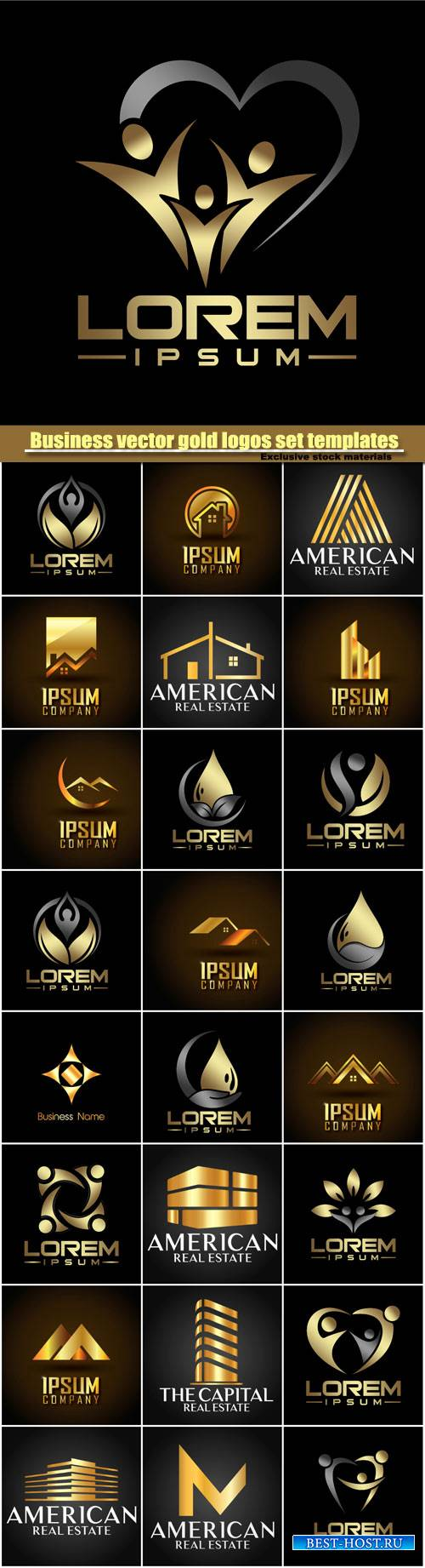 Business vector gold logos set templates