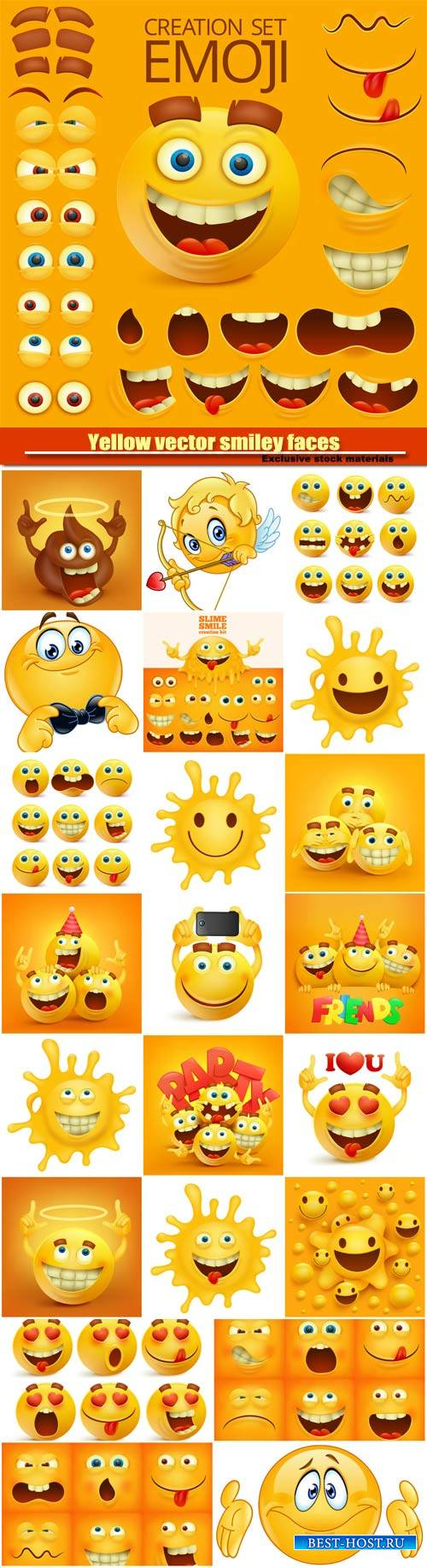 Yellow vector smiley faces