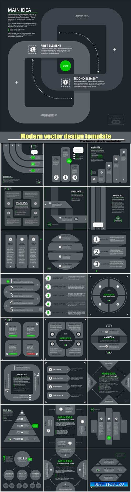 Modern vector design template with four arrows and options in flat style on ...