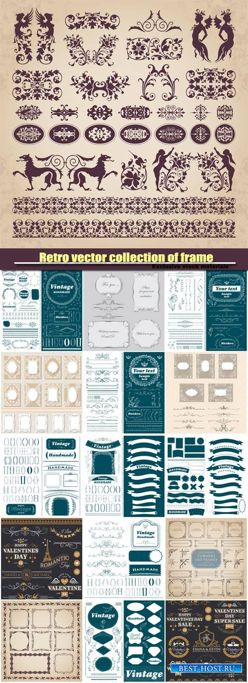 Retro vector collection , decorative ornament design elements