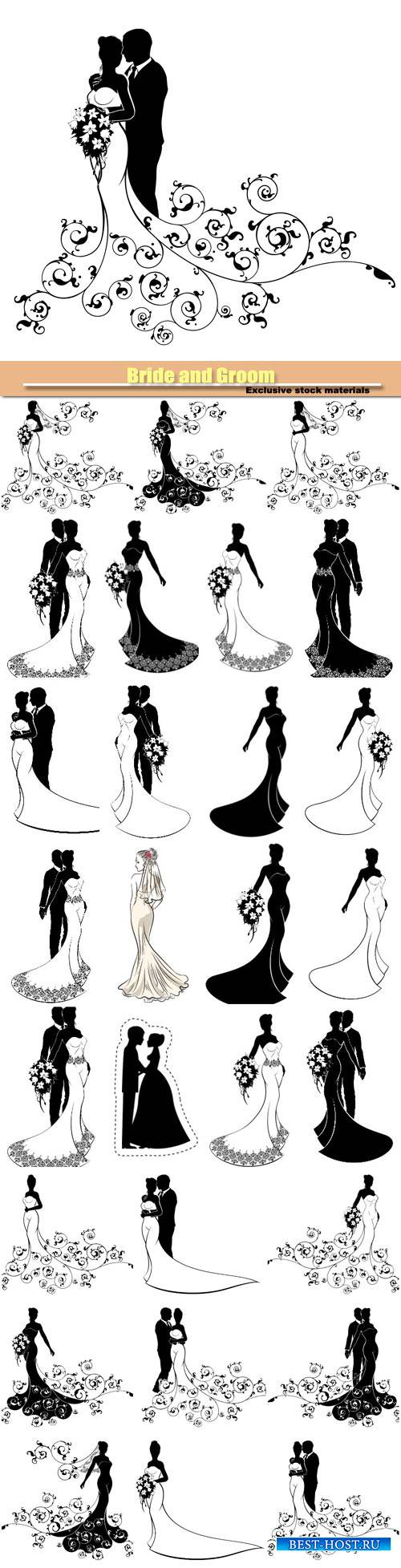 Bride and Groom, wedding silhouette vector set