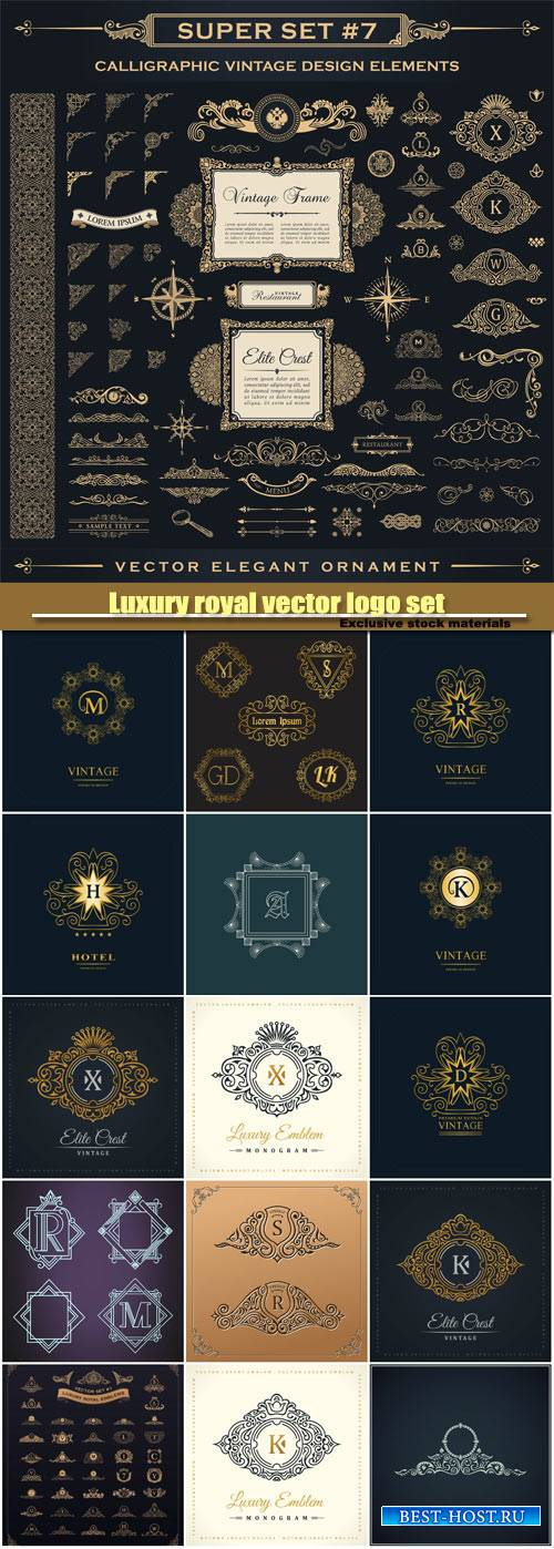 Luxury royal vector logo set, emblem, heraldic monogram, calligraphic flora ...