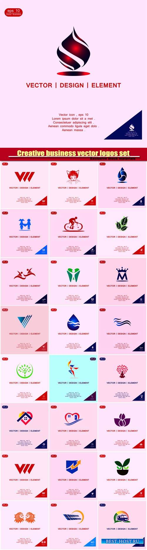 Creative business vector logos set templates