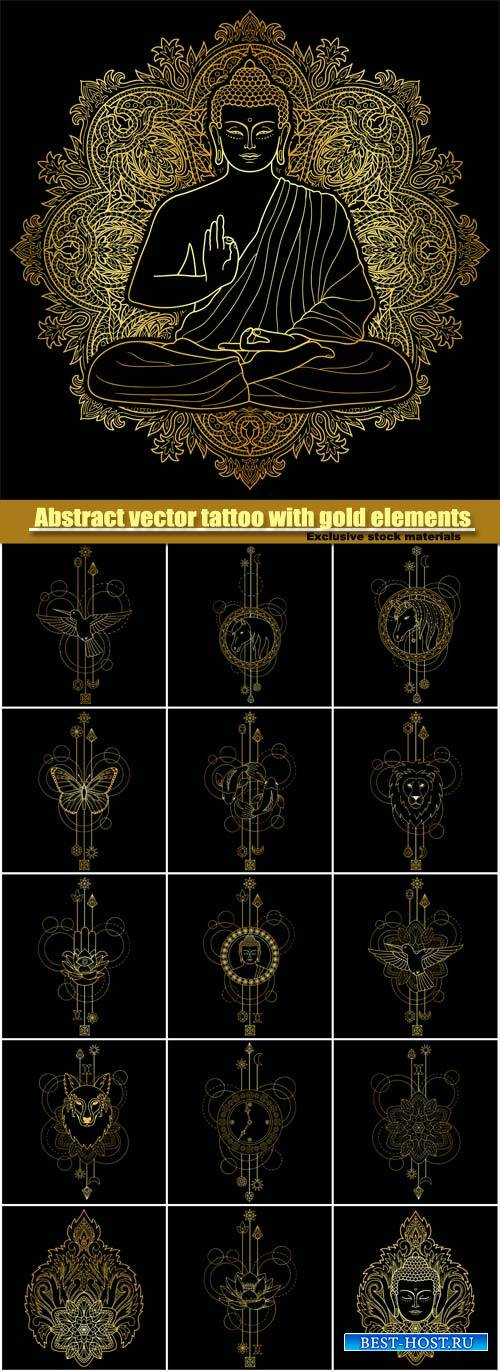 Abstract vector tattoo with gold elements on black background
