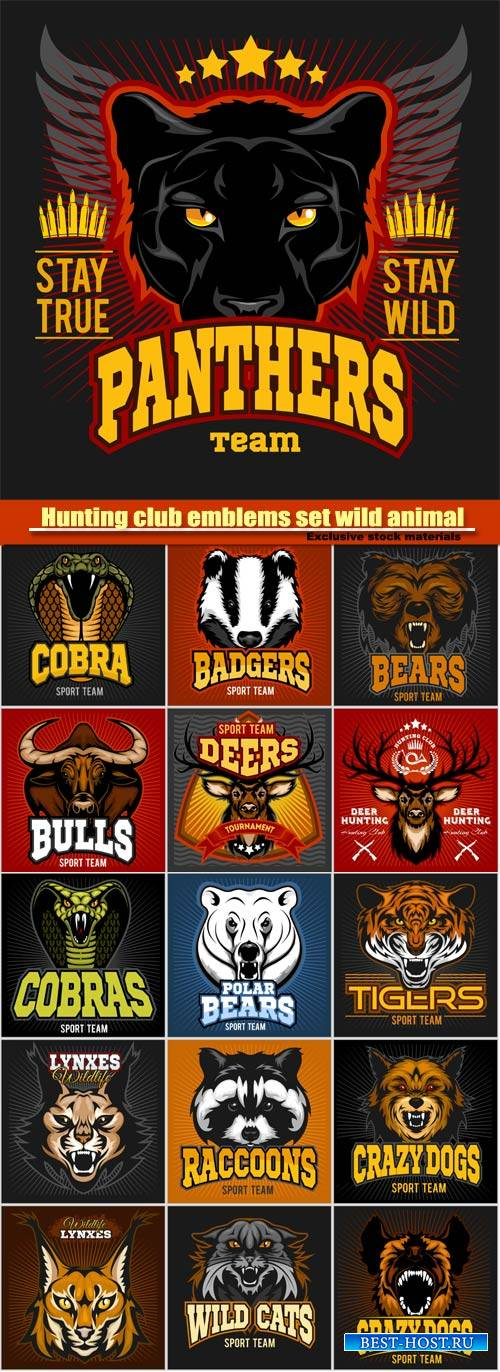 Hunting club emblems set wild animal