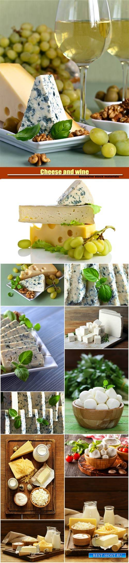Cheese and wine, mozzarella cheese, gorgonzola cheese, tomatoes, basil, gar ...