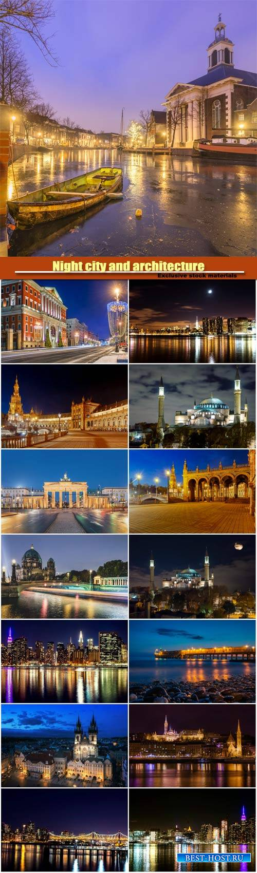Night city and architecture around the world