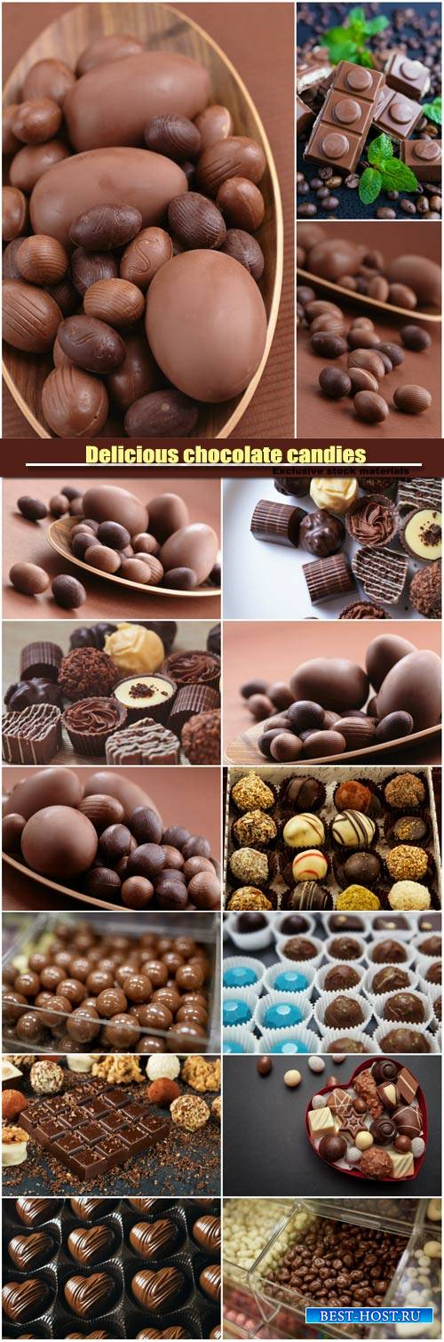 Delicious chocolate candies, dragee candies in box