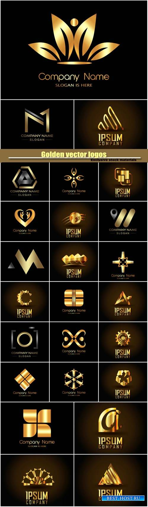 Golden vector logos, business company icon #3