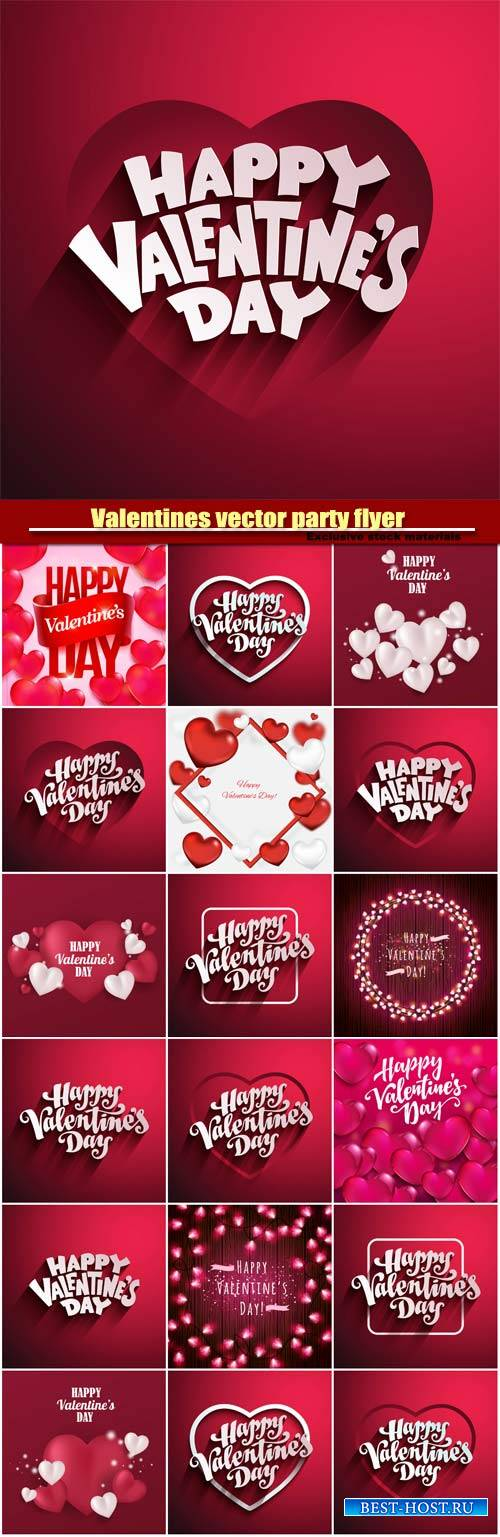 Valentines day party vector flyer with hand made lettering