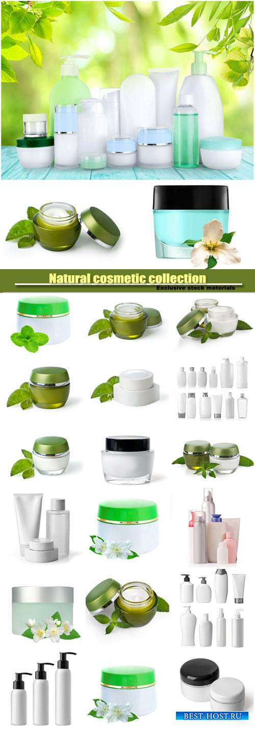 Natural cosmetic, collection of various beauty hygiene containers on white  ...