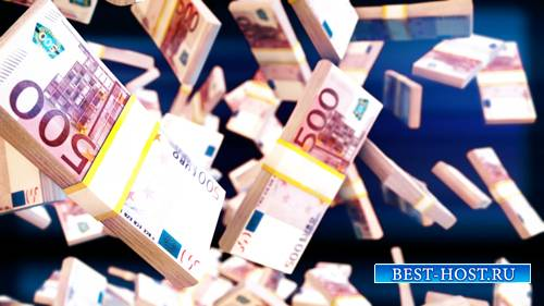 Футаж фоновый - Евро Банкноты