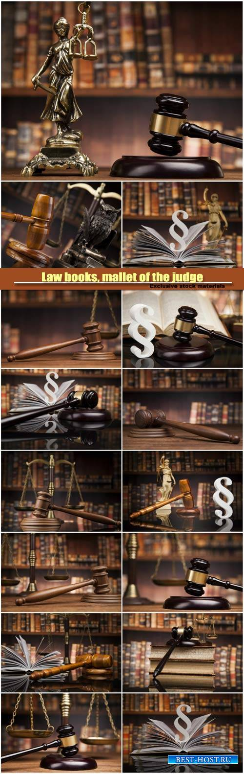 Law books, mallet of the judge, paragraph justice concept, law theme