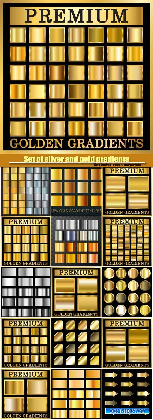 Set of silver and gold gradients, texture square patterns set