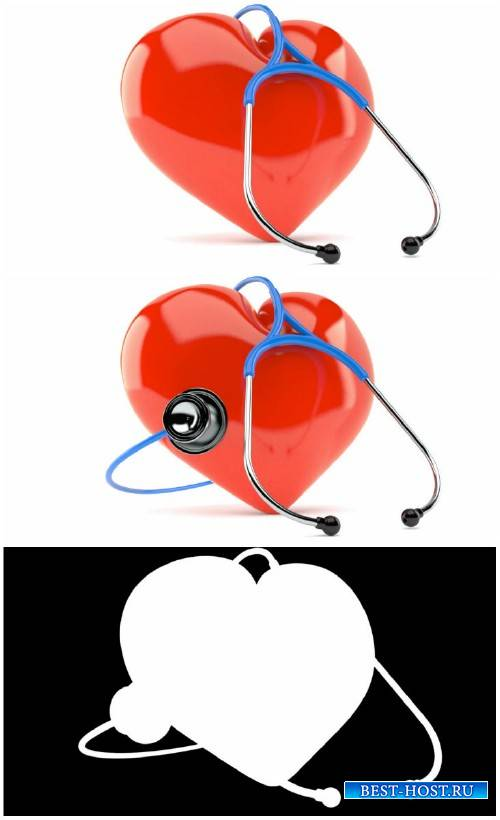 Red heart with a stethoscope on a white background HD