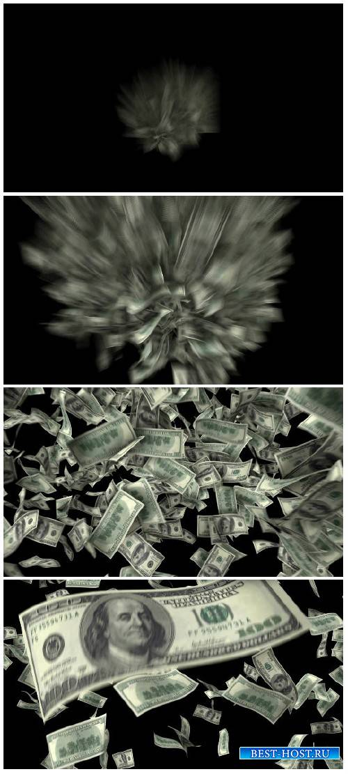 Video footage One hundred dollar banknotes explosion, matte HD