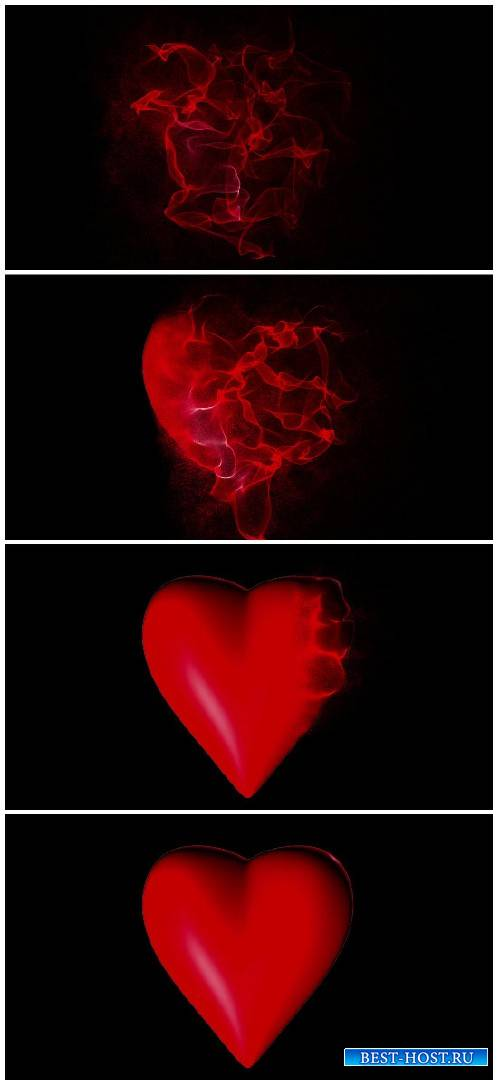 Heart manifests of particles on a black background, alpha-channel video loo ...
