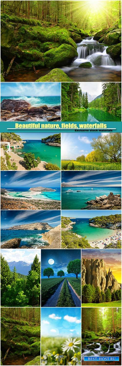 Beautiful nature, fields, waterfalls, forests, sea