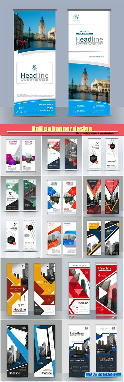Roll up banner design, brochure flyer vertical template