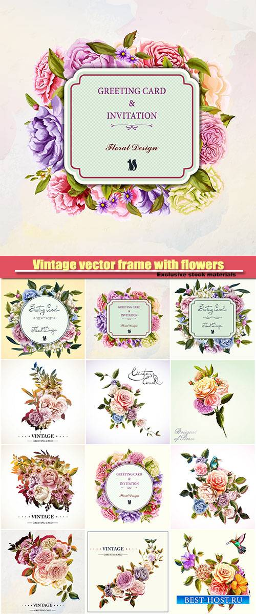 Vintage vector fram with flowers