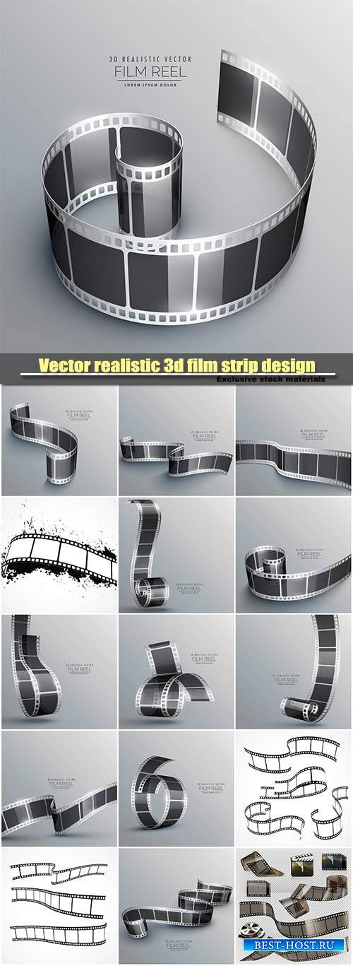 Vector realistic 3d film strip design