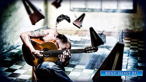 Фотошаблон для фотомонтажа - Парень на стульчике с гитарой