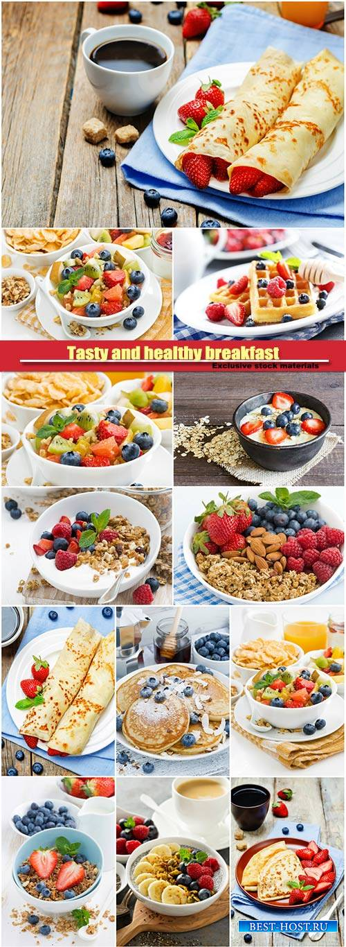 Tasty and healthy breakfast, fruit salad, corn flakes, crepes with strawber ...