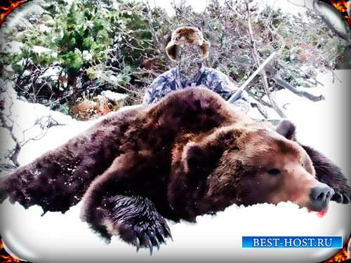 Psd шаблон для монтажа - Охотник с тушью медведя