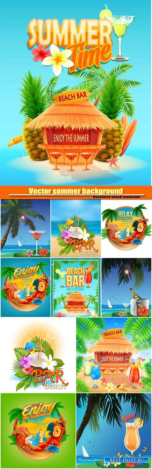 Vector summer background with palm trees and exotic cocktails