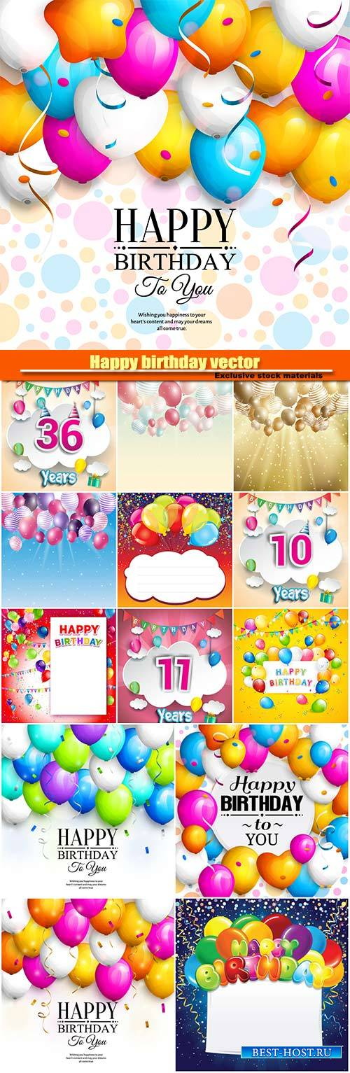 Happy birthday vector, backgrounds balloons