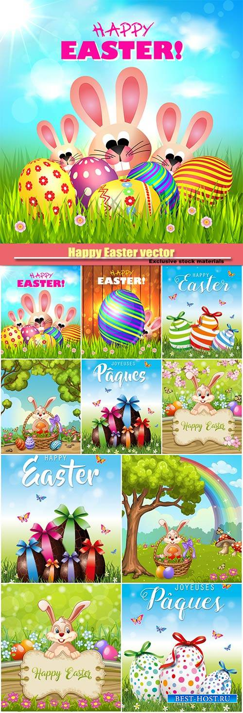 Happy Easter vector Easter eggs and bunny