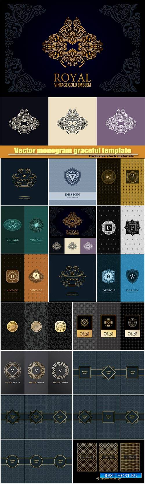 Vector monogram graceful template, seamless pattern , calligraphic elegant  ...