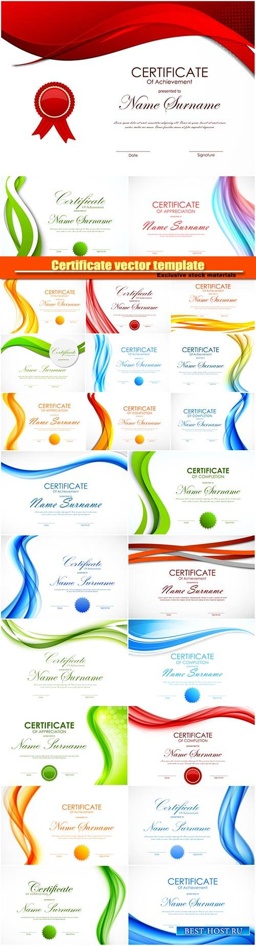 Certificate vector template with light dynamic color wavy curved background ...