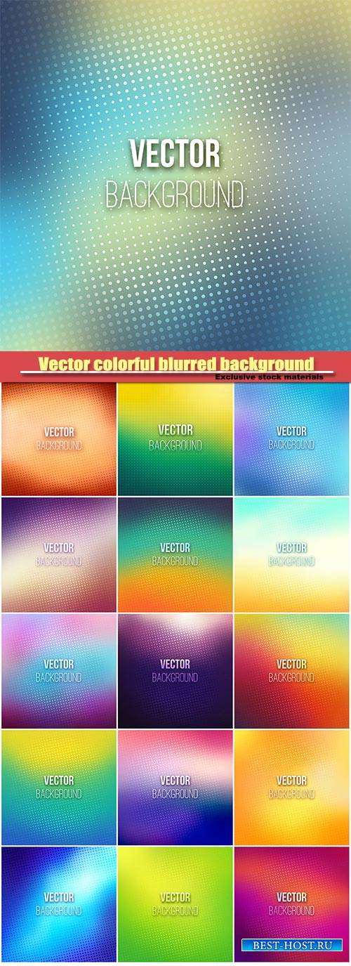 Vector colorful blurred background with halftone effect overlay