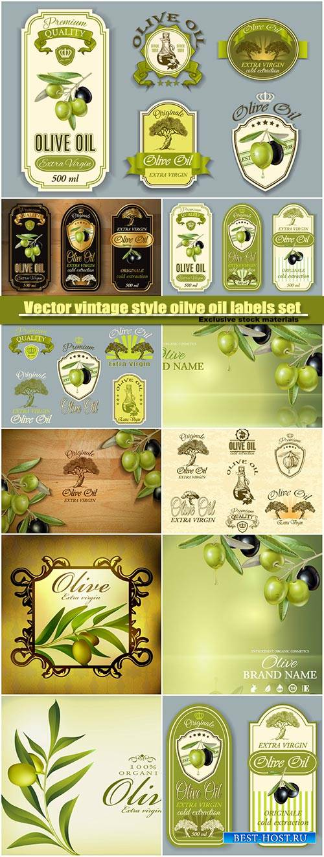 Vector vintage style oilve oil labels set