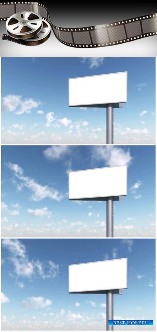 Video footage blank billboard against blue sky