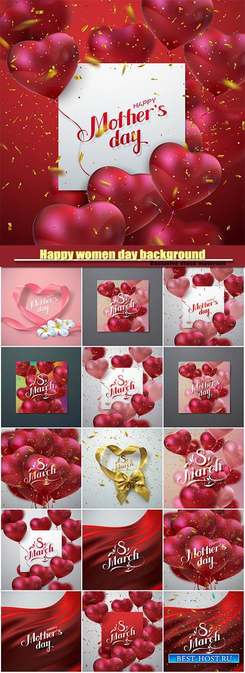 Happy women day background, 8 March vector illustration