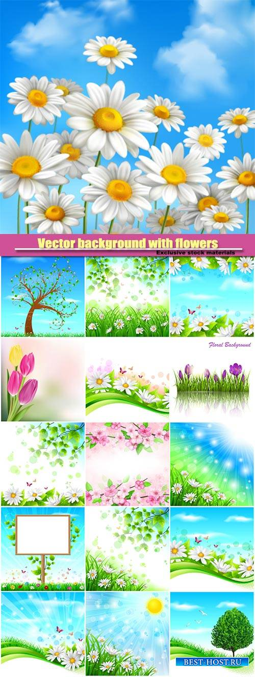 Vector background with flowers and trees