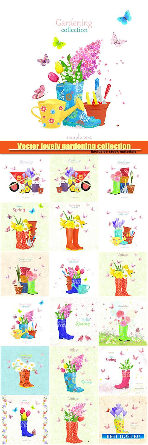 Vector lovely gardening collection, vintage banner with bouquet of spring f ...