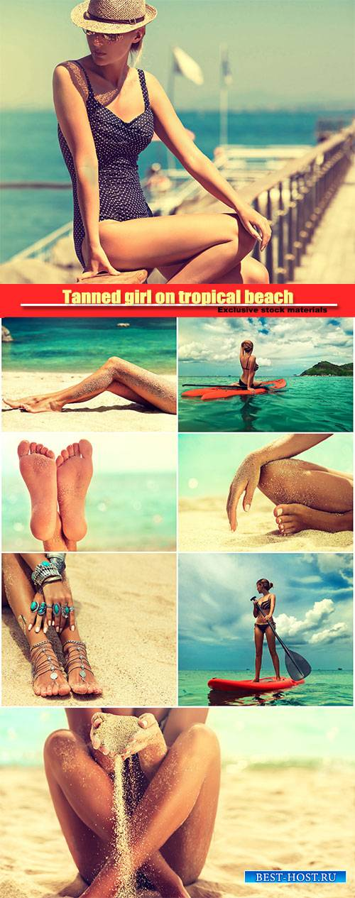 Tanned girl on tropical beach