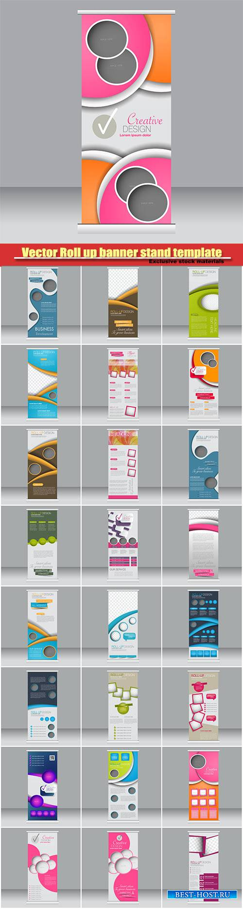Vector Roll up banner stand template, abstract background for design, busin ...