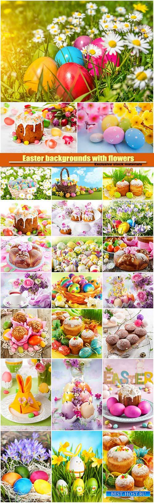 Easter backgrounds with flowers and easter eggs