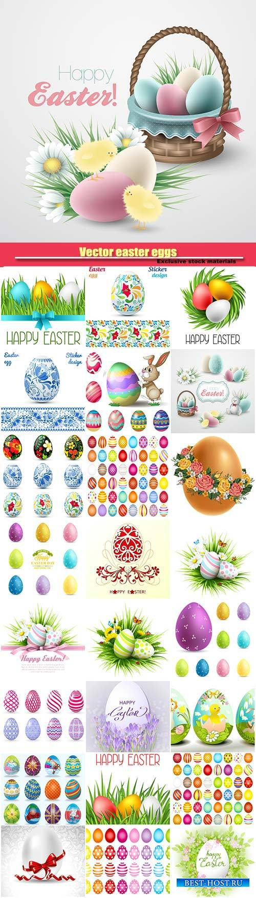 Vector easter eggs, happy easter holiday vector backgrounds