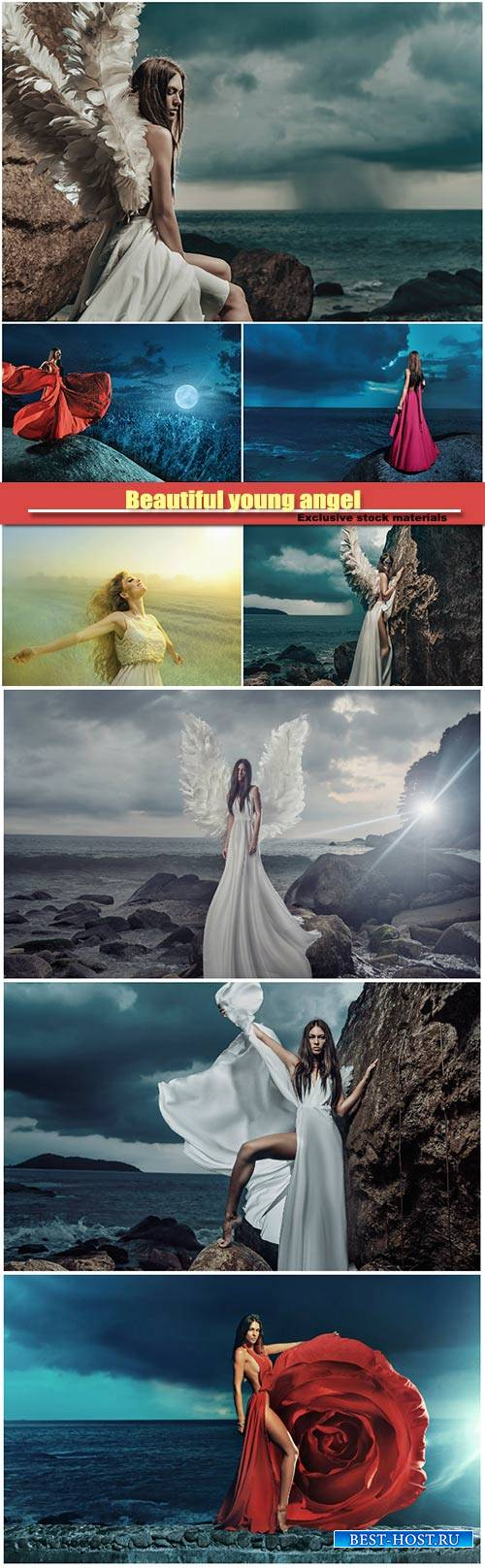 Beautiful young angel climbing on the cliff, lady looking at the storm on t ...