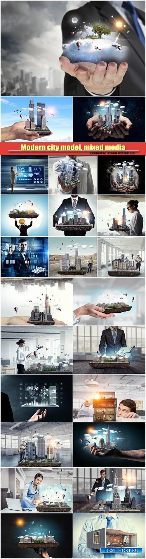Modern city model, mixed media, new development project