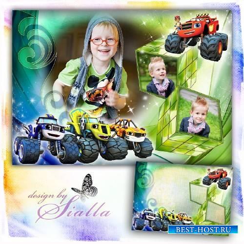 Фоторамка детская для мальчика на 3 фото-   Вспыш и чудо машинки